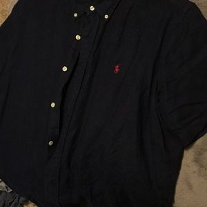 Large navy blue Polo short sleeve button up
